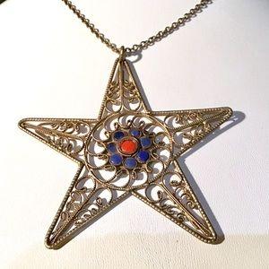 🌺Large VTG Brass and Enamel Star Necklace